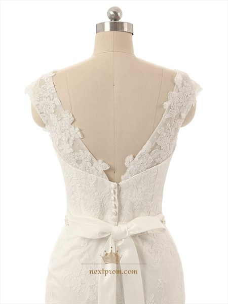 White Lace Applique Sheer Neckline Cap Sleeves Wedding Dress With Bow