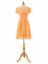 Orange V-Neck Chiffon Ruched Bodice Short Sleeve Dress With Cascade Ruffle