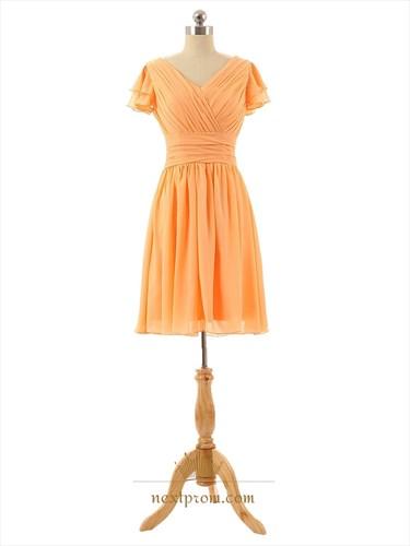 Orange V-Neck Chiffon Ruched Bodice Short Sleeve Dress With Cascade Ruffle