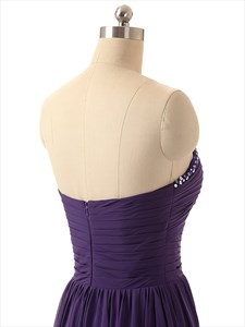 Purple Strapless Beaded Sweetheart Neckline Ruched Bodice Prom Dress