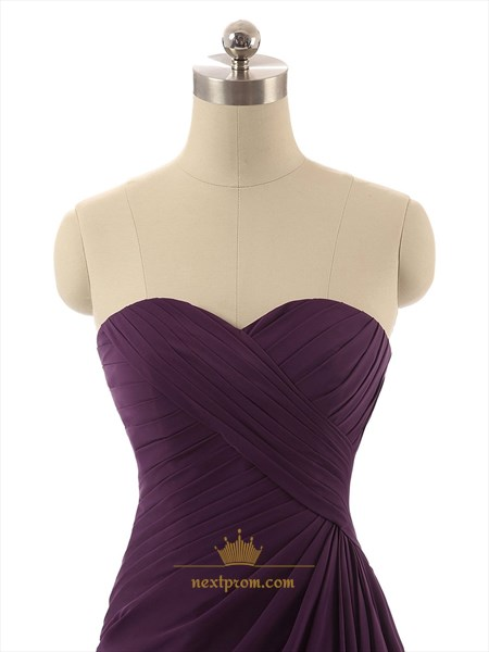 Purple Strapless Pleated A-Line Short Knee Length Bridesmaid Dress