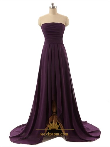 Dark Purple Strapless High Low Pleated Bodice Dress With Split Front Detail