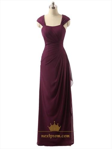 Burgundy Cap Sleeve Crinkle Chiffon Prom Dress With Side Cascade