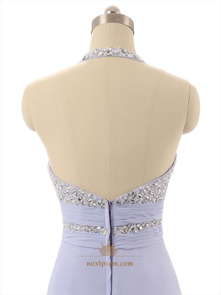 Lavender Beaded Bodice Halter Neck Chiffon Formal Dress With Open Back