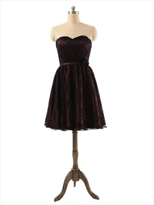Strapless Knee Length Black Lace Applique Prom Dress With Rose Belt