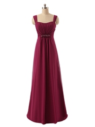 Red Square Neck Ruched Bodice Chiffon Dress With Ruffled Back Detail
