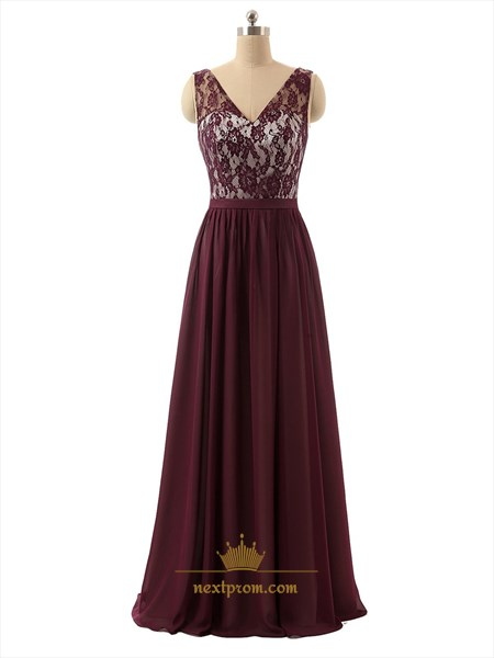 Dark Red Sheer Lace Bodice V-Neck Chiffon Prom Dress With Open Back