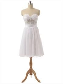 White Strapless Sheer Lace Corset Bodice Knee Length Chiffon Dress