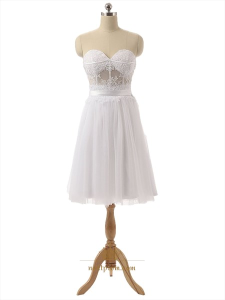 White Strapless Sheer Lace Corset Bodice Knee Length Chiffon Dress