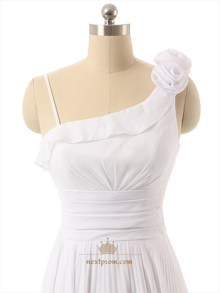 White Roses One Shoulder Ruched Bodice Chiffon Dress With Lace Up Back