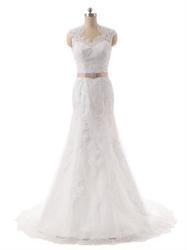 Ivory Lace Sheer Illusion Neckline Mermaid Wedding Dress With Keyhole Back