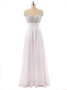 White Beaded Bodice Sheer Straps Chiffon Prom Dress With V-Back