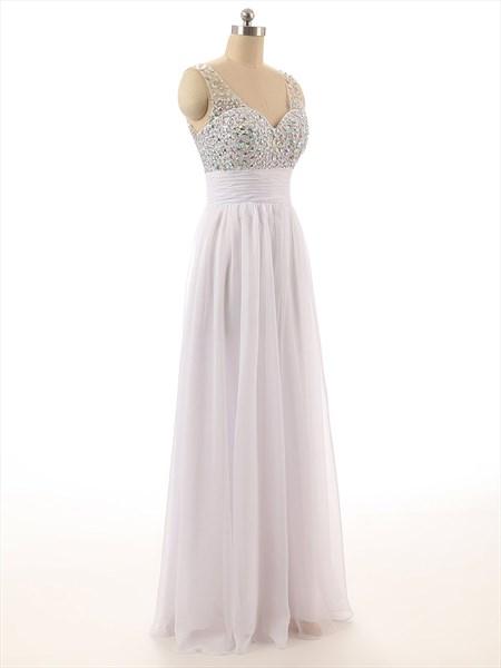White Beaded Bodice Sheer Straps Chiffon Prom Dress With V-Back