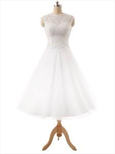 White Lace Bodice Sweetheart Neckline Tea Length Tull Skirt Wedding Dress