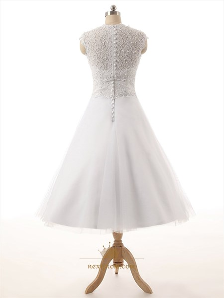 White Lace Bodice Sweetheart Neckline Tea Length Tull Skirt Wedding Dress