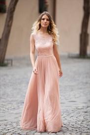 Illusion Peach Sleeveless Lace Open Back Lace-Up Chiffon Long Dress