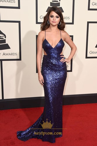 Sexy Navy Blue V-Neck Spaghetti Straps Backless Sequin Bodycon Dress