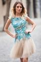 Champagne Sleeveless Lace Embellished Backless Lace-Up Short Dress