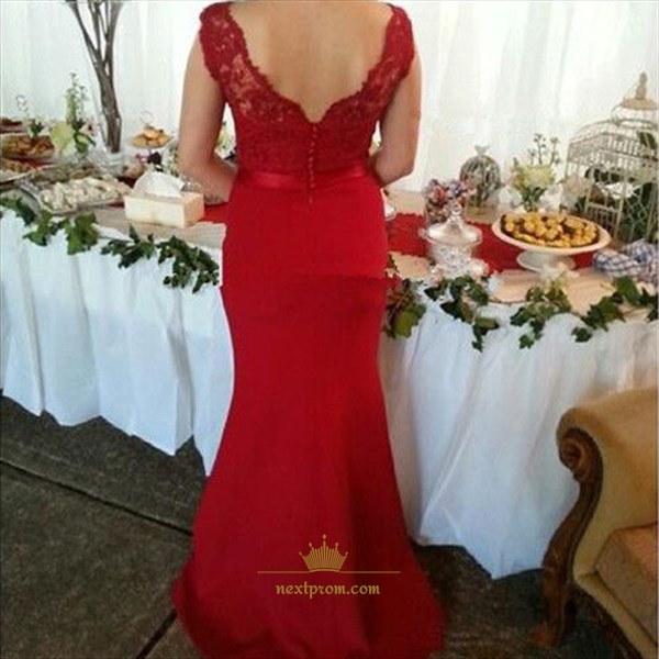 Red Sleeveless Lace Top V-Neck Backless Bodycon Fishtail Long Dress