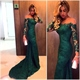 Midnight Green Long Sleeve Sheer Neck Bodycon Fishtail Lace Long Dress