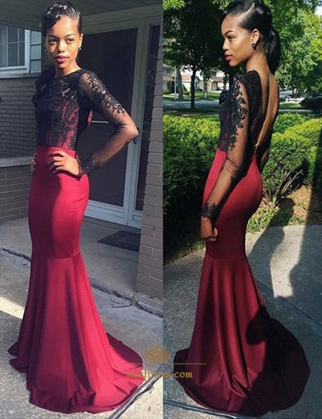 Mermaid Backless Lace Bodice Long Sleeve Floor Length Evening Dress