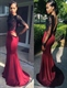 Mermaid Backless Lace Bodice Long Sleeve Floor Length Evening Dress