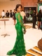 Long Sleeves Lace Applique Overlay Mermaid Prom Floor Length Dress