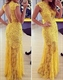 Yellow Cap Sleeve Lace Overlay Floor Length Prom Dress With Open Back