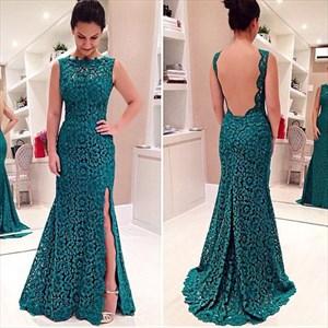 Teal Sleeveless Backless Lace Overlay Side Split Floor Length Dress