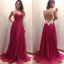 Sleeveless Sweetheart Backless Floral Applique Floor Length Prom Dress