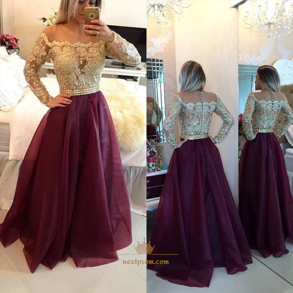 Long Sleeve Off The Shoulder Lace Applique Pleated Bottom Long Dress