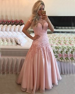 Illusion Pink Capped Sleeves V-Neck Lace Applique Backless Long Dress