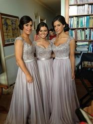 Capped Sleeves Sweetheart Lace Chiffon Bottom Long Bridesmaid Dress