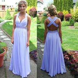 Lavender Sleeveless X-Back Beaded Waist Chiffon Long Bridesmaid Dress