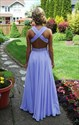 Lavender Sleeveless X-Back Beaded Waist Chiffon Long Bridesmaid Dress