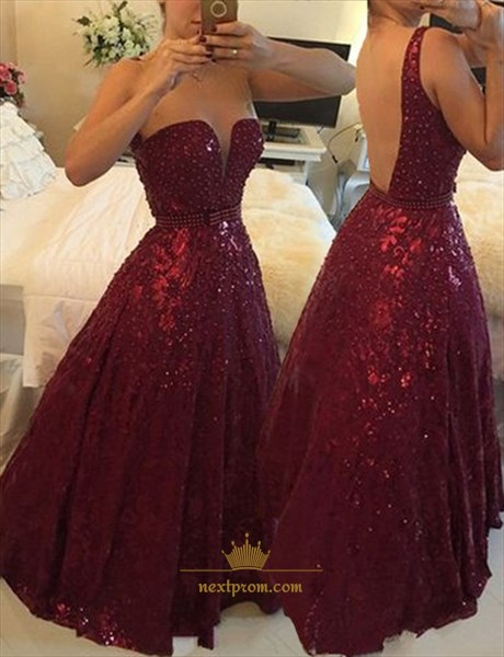 Illusion Burgundy Lace V Neck Backless Beaded Waist Prom Long Dress
