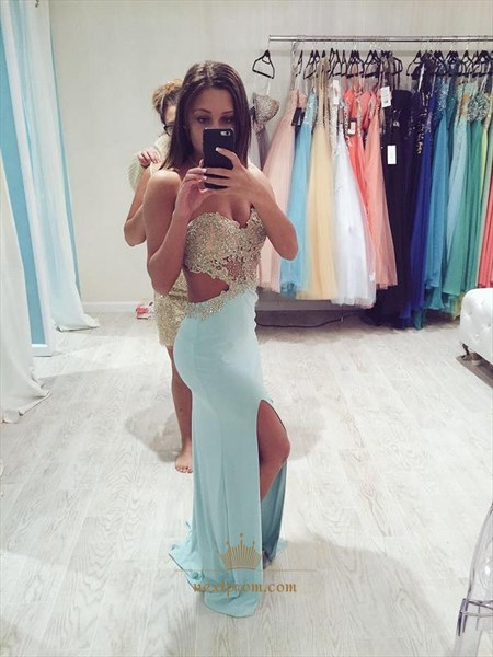 Strapless Sweetheart Beaded Corset Backless Side Split Prom Long Dress
