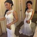White Illusion Sleeveless Sheer Floral Applique Mermaid Prom Dress