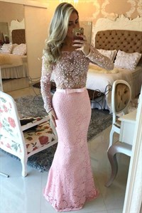 Pink Off The Shoulder Beaded Bodice Open Back Lace Mermaid Prom Dress