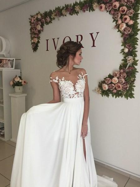 White Off The Shoulder Empire Waist Floral Applique Prom Dress