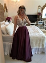 Sleeveless V Neck White Beaded Bodice Red Pleated Prom Dress