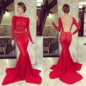 Red Lace Long Sleeve Backless Asymmetrical Hem Mermaid Prom Dress