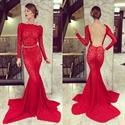Red Lace Long Sleeve Backless Asymmetrical Hem Mermaid Prom Dress