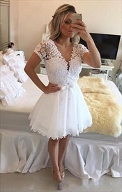White Short Sleeve Lace Beaded Deep V Neck Backless Short Prom Dress