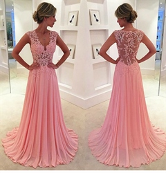 Pink Cap Sleeve Lace Applique Bodice V Neck Chiffon A Line Prom Dress