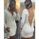 White Long Sleeve Lace Deep V Neck Backless Bodycon Dress With Beading
