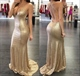 Champagne Sequin Spaghetti Strap V Neck Backless Mermaid Prom Dress