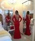 Red Long Sleeve Off Shoulder Lace Beaded Bodice Mermaid Prom Dress