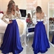 Lace Applique Bodice Long Sleeve Backless V-Neck Long Prom Dress