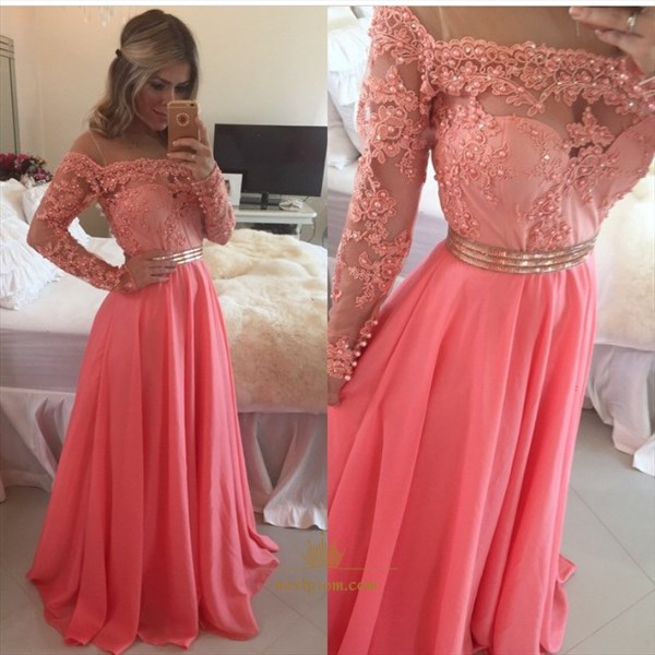 Illusion Off The Shoulder Lace Beaded Chiffon Bottom Long Prom Dress